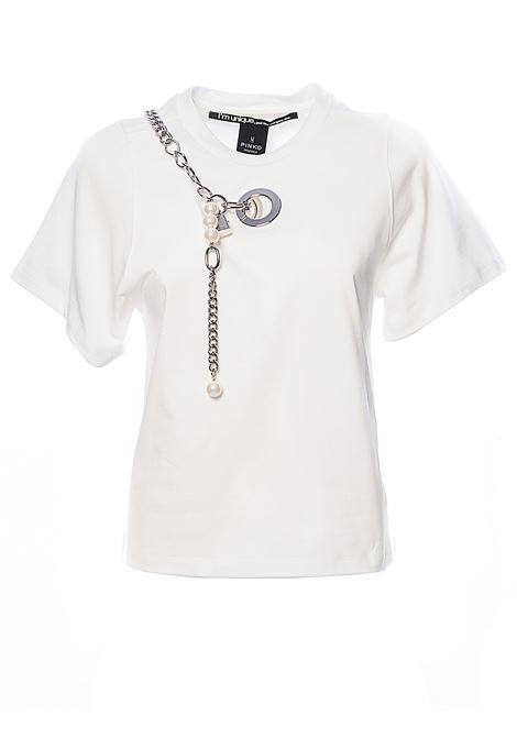 FURBA WHITE T-SHIRT WITH COTTON JERSEY PEARLS PINKO | T-shirt | FURBAIQ102R8100Z06