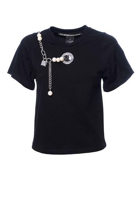 T-SHIRT NERA FURBA CON PERLE IN JERSEY DI COTONE PINKO | T-shirt | FURBAIQ102R8100Z99