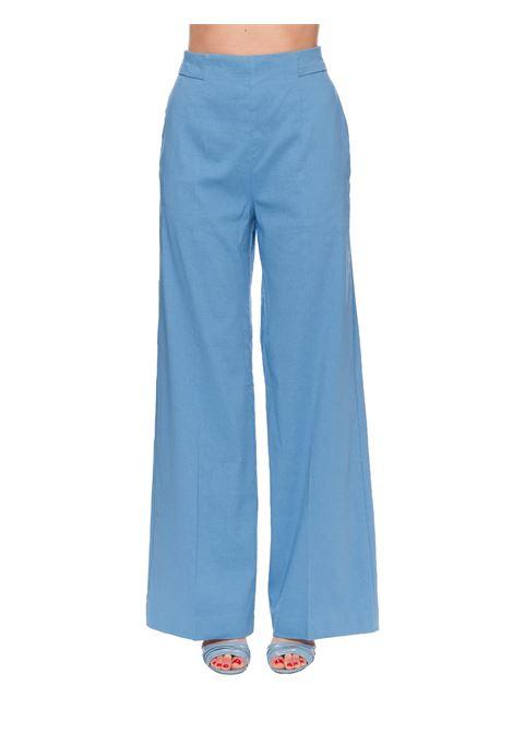BLUE PALAZZO PANTS IN LUIGIA3 LINEN LINEN PINKO | Pants | LUIGIA3 1B14F37435F54