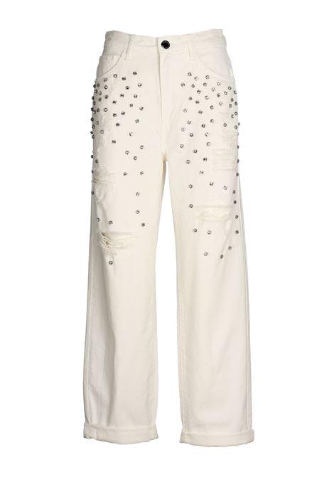 WHITE JEANS MADDIE 7IN COTTON DENIM WITH STRASS PINKO | Jeans | MADDIE7 1B14LHY67QZ05