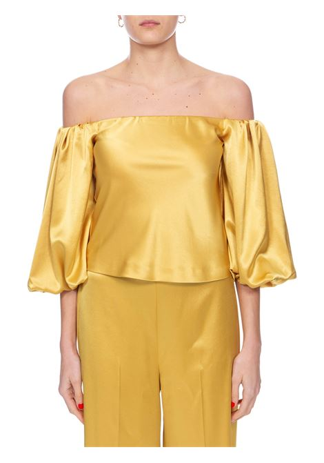 MOUSSE YELLOW BLOUSE IN SATIN PINKO | Blouse | MOUSSE1 1G14UY7914H39