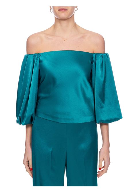 MOUSSE GREEN BLOUSE IN SATIN PINKO | Blouse | MOUSSE1 1G14UY7914X35