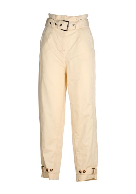 WHITE HIGH-WAISTED PIPE PANTS IN COTTON AND LINEN PINKO | Pants | PIPPO1B14CV8004C00