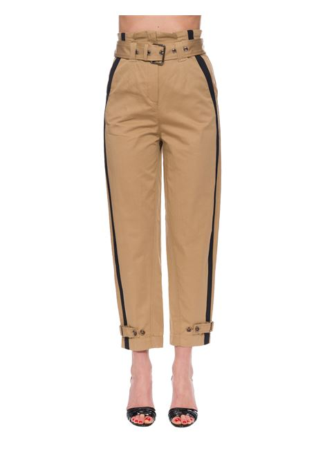 HIGH-WAISTED PIPE PANTS IN COTTON AND LINEN PINKO | Pants | PIPPO1B14CV8004CZ9