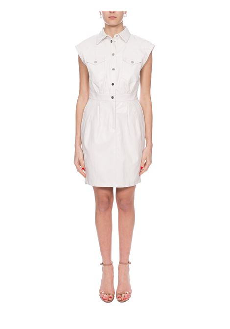 WHITE SAVARIN FAUX LEATHER DRESS PINKO | Dress | SAVARIN1G14LX7866Z14