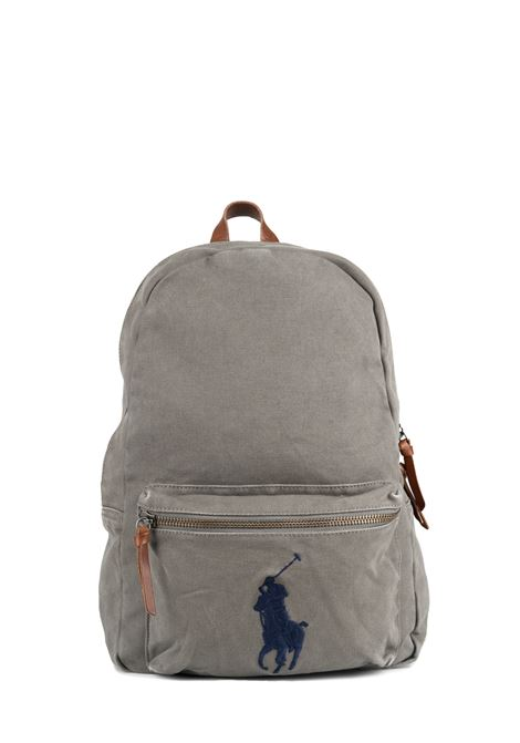 GRAY BACKPACK WITH FRONT LOGO EMBROIDERY POLO RALPH LAUREN | Backpacks | 405769875001
