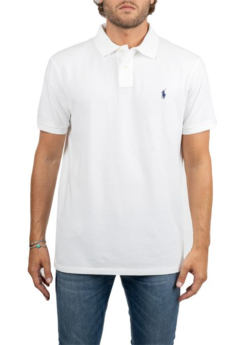 WHITE COTTON POLO WITH FRONT LOGO EMBROIDERY SLIM FIT POLO RALPH LAUREN | Polo Shirts | 710548797001