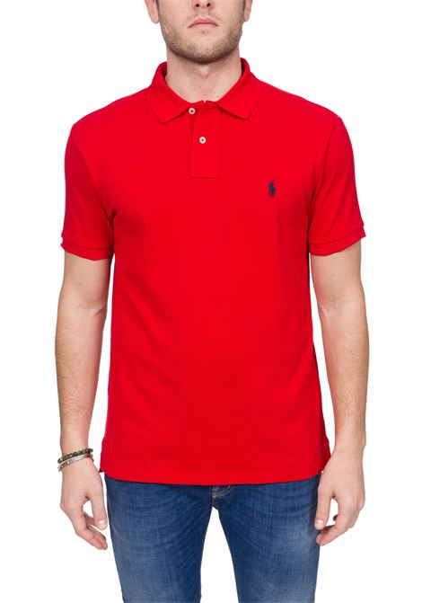 RED COTTON POLO WITH FRONT LOGO EMBROIDERY SLIM FIT POLO RALPH LAUREN | Polo Shirts | 710548797005