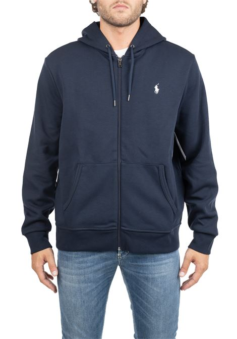 BLUE COTTON SWEATSHIRT WITH LOGO EMBROIDERY POLO RALPH LAUREN | Sweatshirts | 710652313008
