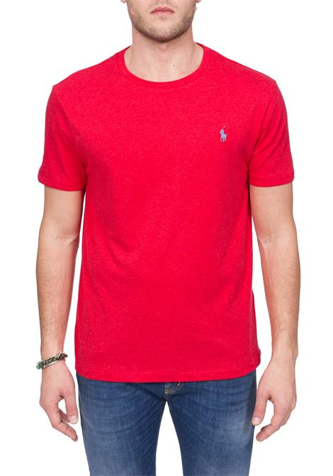 RED COTTON T-SHIRT WITH FRONT LOGO EMBROIDERY POLO RALPH LAUREN | T-shirt | 710671438118