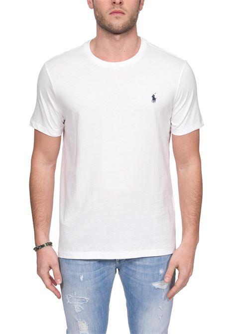 T-SHIRT BIANCA IN COTONE CON RICAMO LOGO A CONTRASTO POLO RALPH LAUREN | T-shirt | 710680785003