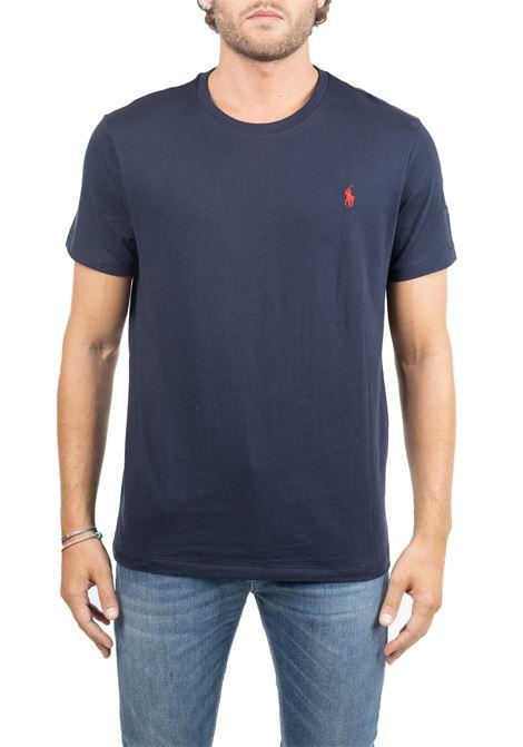 T-SHIRT BLU IN COTONE CON RICAMO LOGO A CONTRASTO POLO RALPH LAUREN | T-shirt | 710680785004