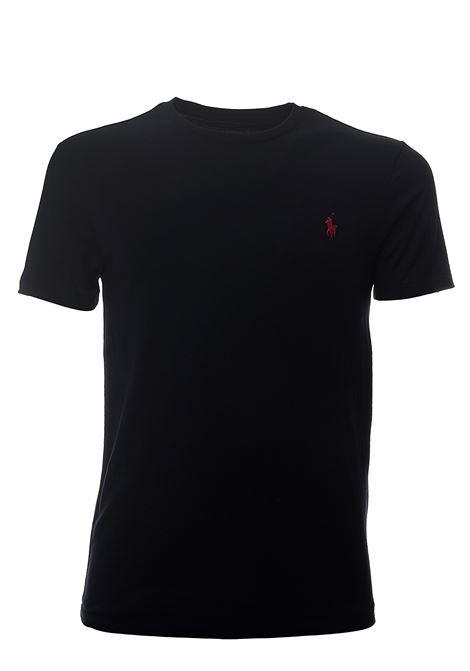T-SHIRT BLU IN COTONE CON RICAMO LOGO FRONTALE POLO RALPH LAUREN | T-shirt | 710680785004BLU
