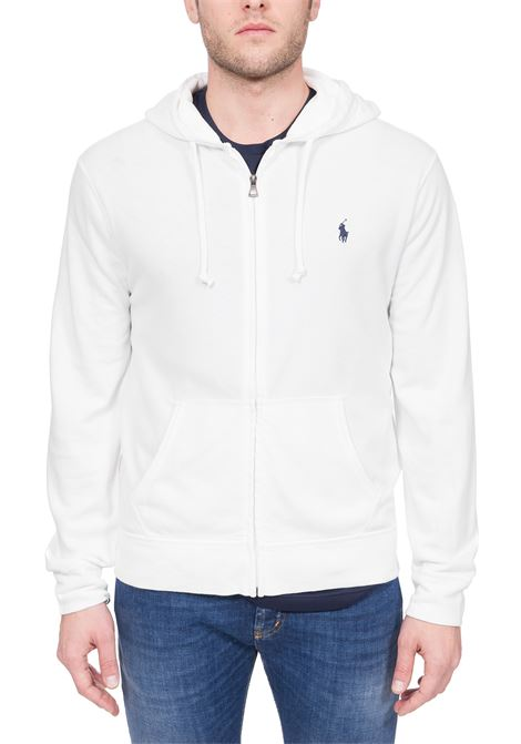 WHITE COTTON SWEATSHIRT WITH FRONT LOGO EMBROIDERY POLO RALPH LAUREN | Sweatshirts | 710706348002