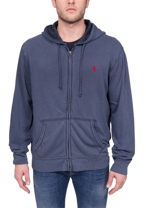 BLUE COTTON SWEATSHIRT WITH FRONT LOGO EMBROIDERY POLO RALPH LAUREN | Sweatshirts | 710706348005