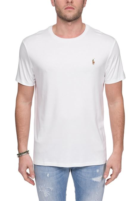 WHITE COTTON T-SHIRT WITH FRONT LOGO EMBROIDERY POLO RALPH LAUREN | T-shirt | 710740727002BIANCO