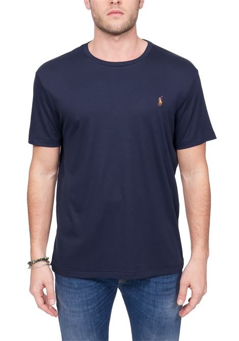 BLUE COTTON T-SHIRT WITH FRONT LOGO EMBROIDERY POLO RALPH LAUREN | T-shirt | 710740727003