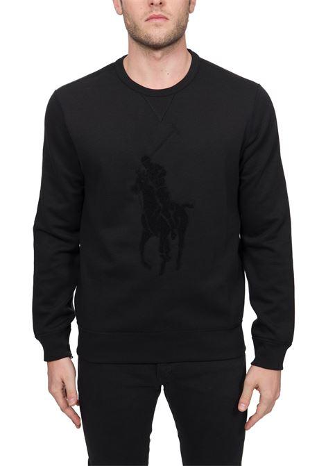 BLACK SWEATSHIRT WITH FRONT LOGO EMBROIDERY POLO RALPH LAUREN   Sweatshirts   710766862001