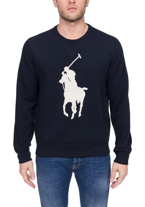 BLUE SWEATSHIRT WITH FRONTAL MAXI LOGO EMBROIDERY POLO RALPH LAUREN | Sweatshirts | 710766862004