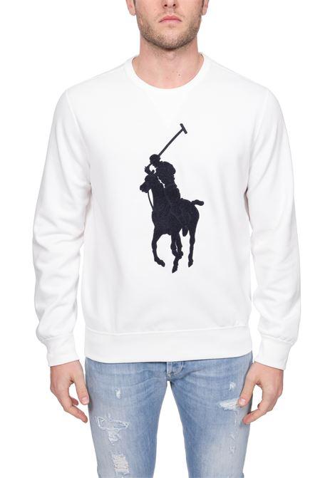 WHITE SWEATSHIRT WITH FRONTAL MAXI LOGO EMBROIDERY POLO RALPH LAUREN   Sweatshirts   710766862011