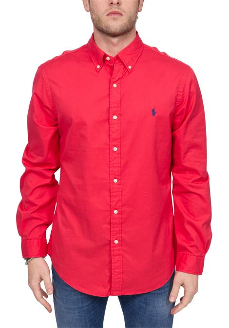 RED COTTON SHIRT WITH FRONT LOGO EMBROIDERY POLO RALPH LAUREN | Shirts | 710787192005
