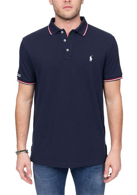 BLUE COTTON POLO WITH FRONT LOGO EMBROIDERY POLO RALPH LAUREN | Polo Shirts | 710792813001