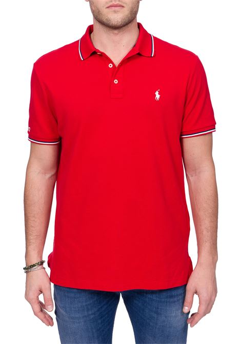 RED COTTON POLO WITH FRONT MINI LOGO EMBROIDERY POLO RALPH LAUREN | Polo Shirts | 710792813003