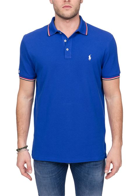 BLUE COTTON POLO WITH FRONT LOGO EMBROIDERY POLO RALPH LAUREN | Polo Shirts | 710792813004