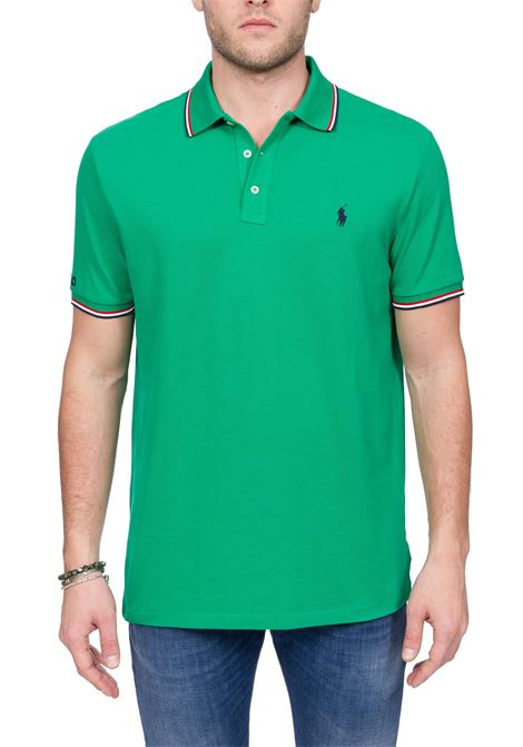 GREEN COTTON POLO WITH FRONT LOGO EMBROIDERY POLO RALPH LAUREN | Polo Shirts | 710792813005