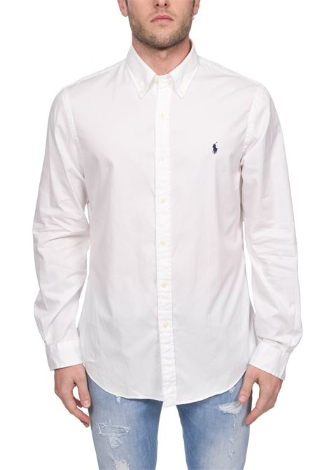 WHITE COTTON SHIRT WITH FRONT LOGO EMBROIDERY POLO RALPH LAUREN | Shirts | 710794604002