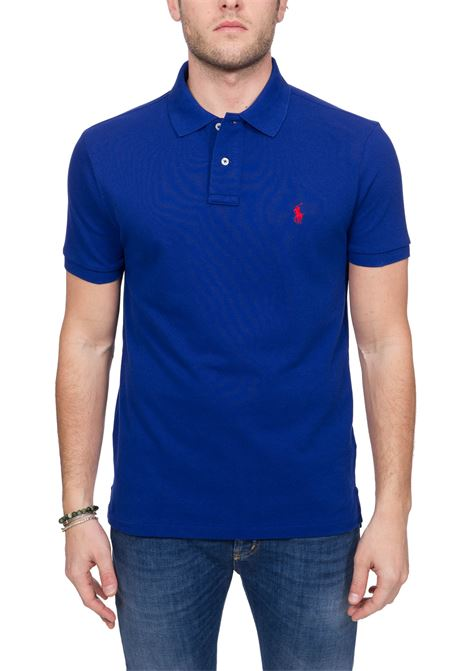 BLUE COTTON POLO WITH FRONT LOGO EMBROIDERY POLO RALPH LAUREN | Polo Shirts | 710795080001
