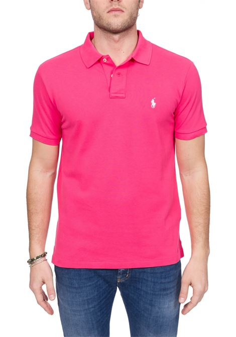 FUCSIA COTTON POLO WITH FRONT LOGO EMBROIDERY POLO RALPH LAUREN | Polo Shirts | 710795080012