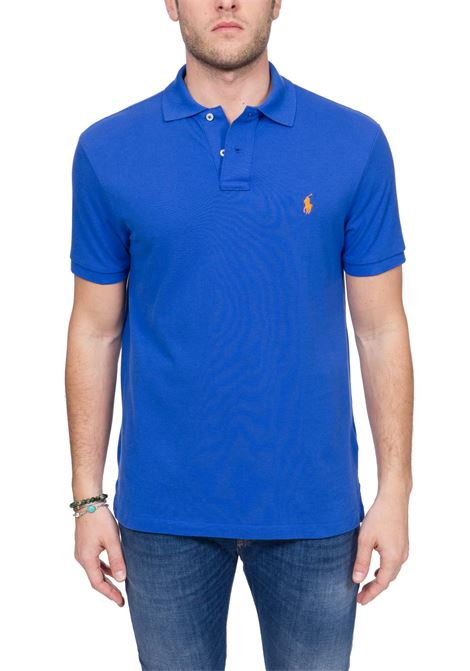 BLUE COTTON POLO WITH FRONT LOGO EMBROIDERY POLO RALPH LAUREN | Polo Shirts | 710795080014