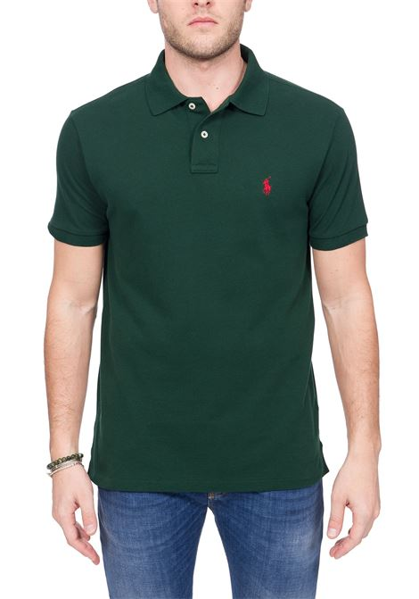 GREEN COTTON POLO WITH FRONT LOGO EMBROIDERY POLO RALPH LAUREN | Polo Shirts | 710795080018