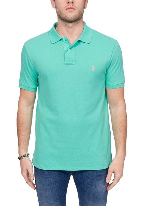 GREEN COTTON POLO WITH FRONT LOGO EMBROIDERY POLO RALPH LAUREN | Polo Shirts | 710795080020