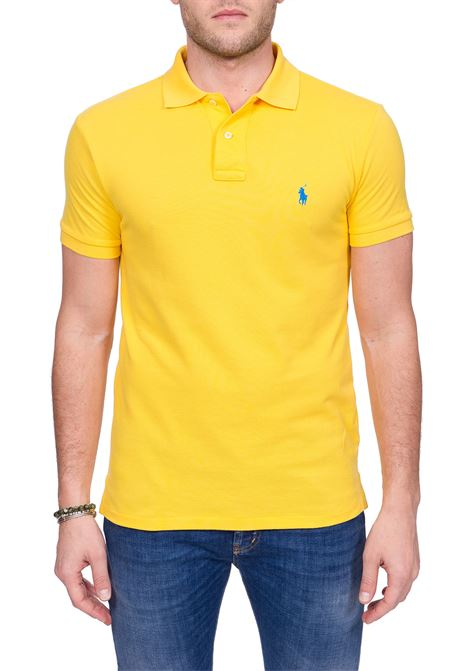 YELLOW COTTON POLO WITH FRONT MINI LOGO EMBROIDERY POLO RALPH LAUREN | Polo Shirts | 710795080022