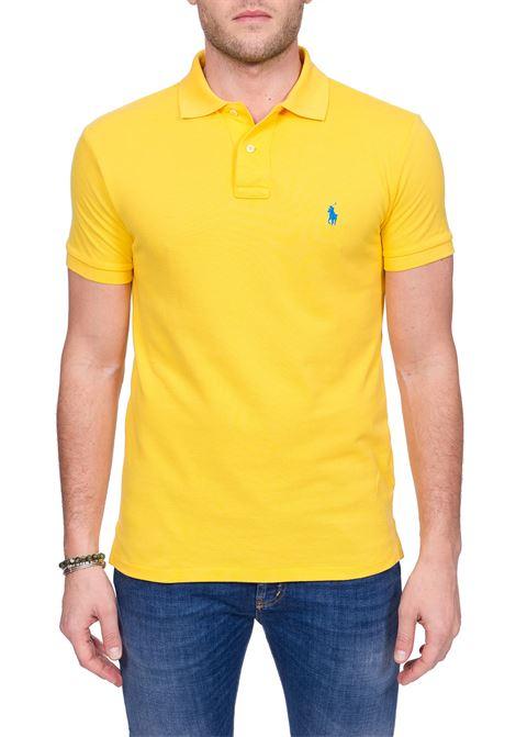 YELLOW COTTON POLO WITH FRONT MINI LOGO EMBROIDERY POLO RALPH LAUREN | Polo Shirts | 710795080022GIALLO