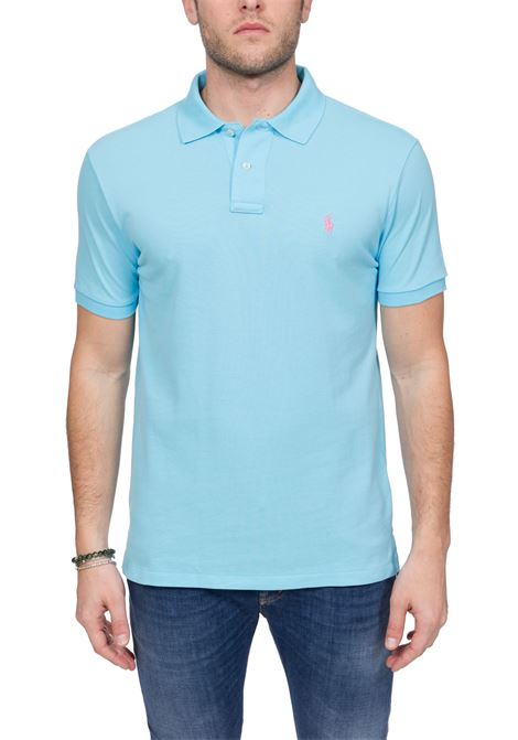 BLUE LIGHT COTTON POLO WITH FRONT LOGO EMBROIDERY POLO RALPH LAUREN | Polo Shirts | 710795080024