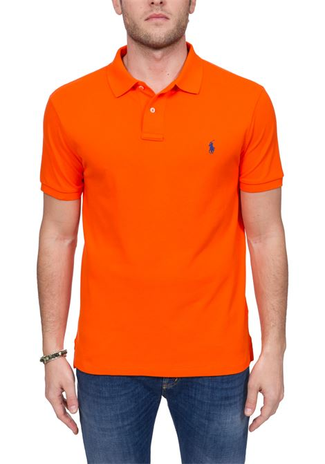ORANGE COTTON POLO WITH FRONT LOGO EMBROIDERY POLO RALPH LAUREN | Polo Shirts | 710795080025