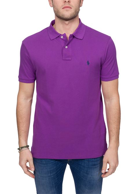 PURPLE COTTON POLO WITH FRONT LOGO EMBROIDERY POLO RALPH LAUREN | Polo Shirts | 710795080030