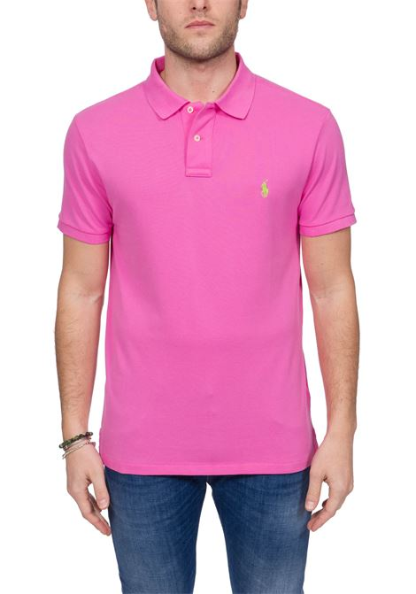 PINK COTTON POLO WITH FRONT LOGO EMBROIDERY POLO RALPH LAUREN | Polo Shirts | 710795080032