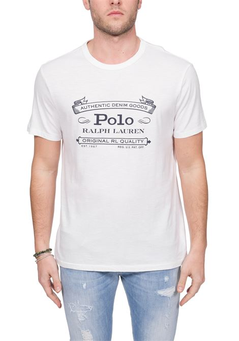 WHITE COTTON T-SHIRT WITH FRONT LOGO PRINT POLO RALPH LAUREN | T-shirt | 710795143001