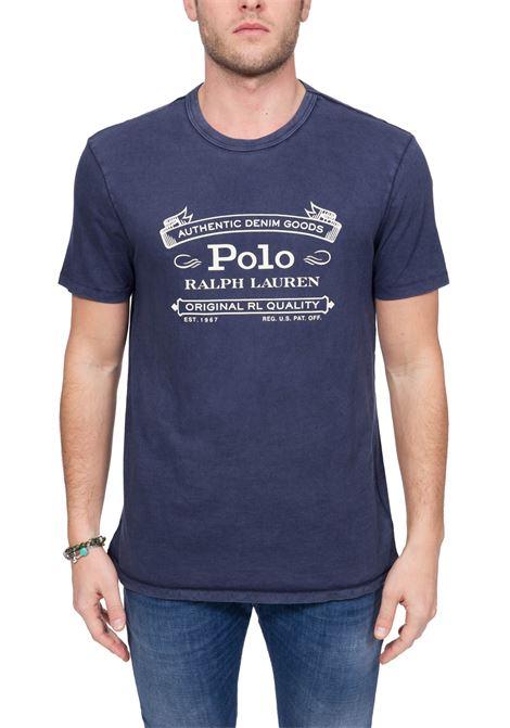 BLUE COTTON T-SHIRT WITH FRONT LOGO PRINT POLO RALPH LAUREN | T-shirt | 710795143002