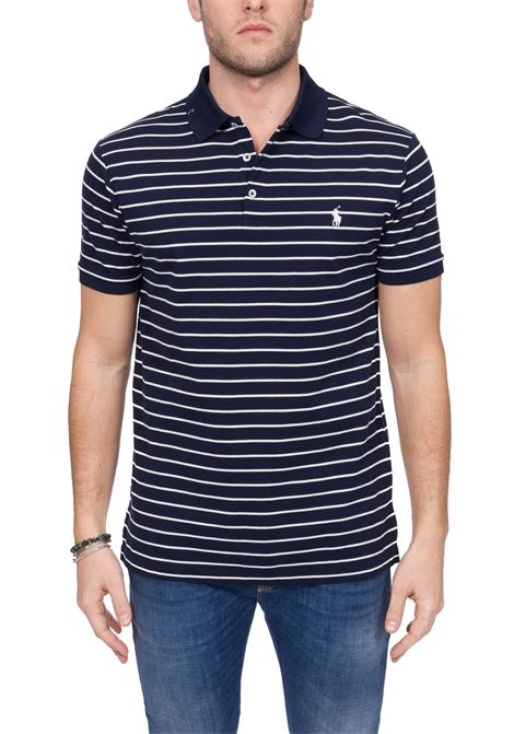 BLUE STRIPED POLO SHIRT WITH FRONT LOGO EMBROIDERY POLO RALPH LAUREN | Polo Shirts | 710799334001