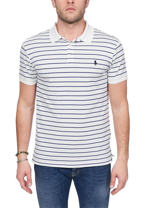 WHITE STRIPED POLO SHIRT WITH FRONT LOGO EMBROIDERY POLO RALPH LAUREN | Polo Shirts | 710799334002
