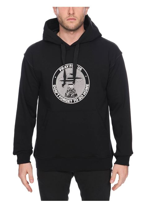 BLACK COTTON SWEATSHIRT WITH FRONT LOGO PRINT PRAY FOR US | Sweatshirts | GOHHOODHOODIEBLACK
