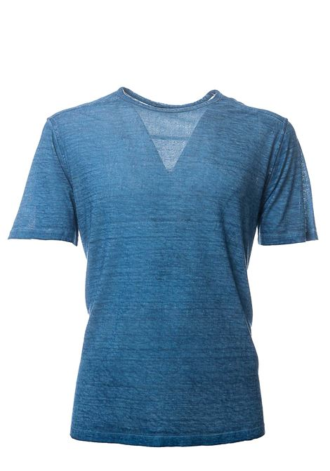 BLUE T-SHIRT IN LINEN BLEND ROBERTO COLLINA | T-shirt | RC61021RC6114