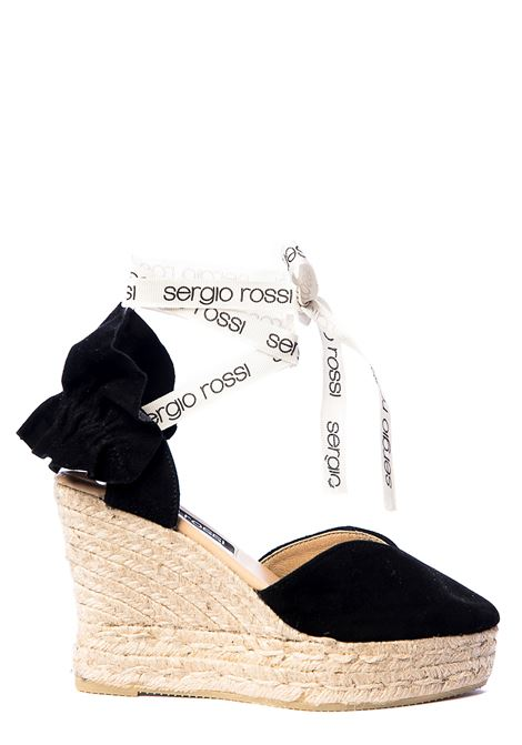 ESPADRILLAS IN BLACK SUEDE WITH GRIFFED WHITE STRINGS SERGIO ROSSI |  | A88600MFN9751000410NERO