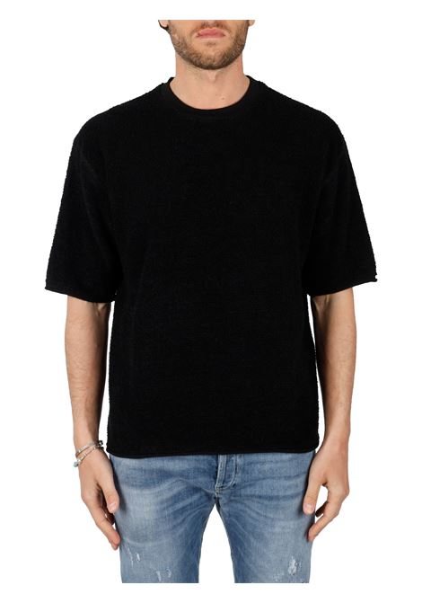 BLACK T-SHIRT IN LINEN BLEND SIDE SLOPE |  | SSL3141209
