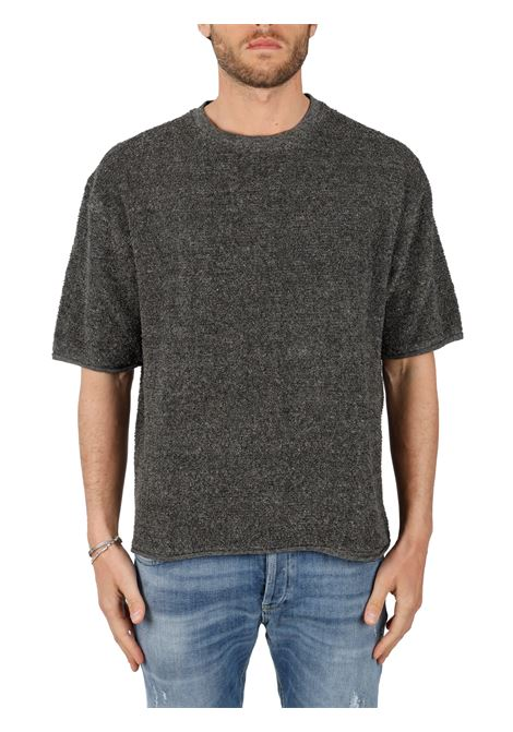 GRAY T-SHIRT IN LINEN BLEND SIDE SLOPE |  | SSL3141279
